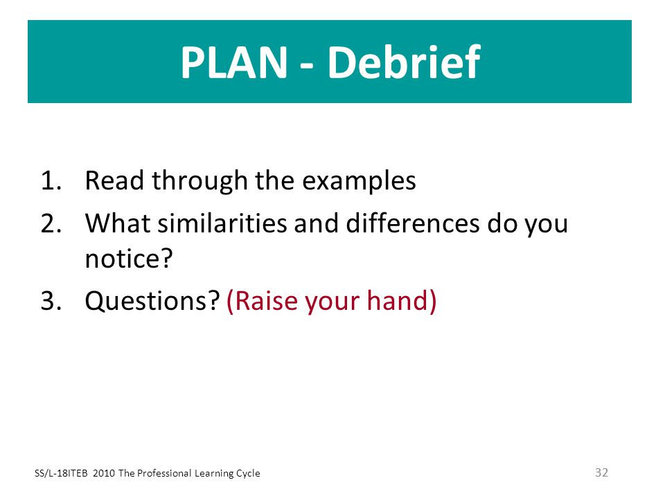SS/L-18ITEB 2010 The Professional Learning Cycle 32 PLAN - Debrief 1.Read through the examples 2.What similarities and differences do you notice? 3.Qu