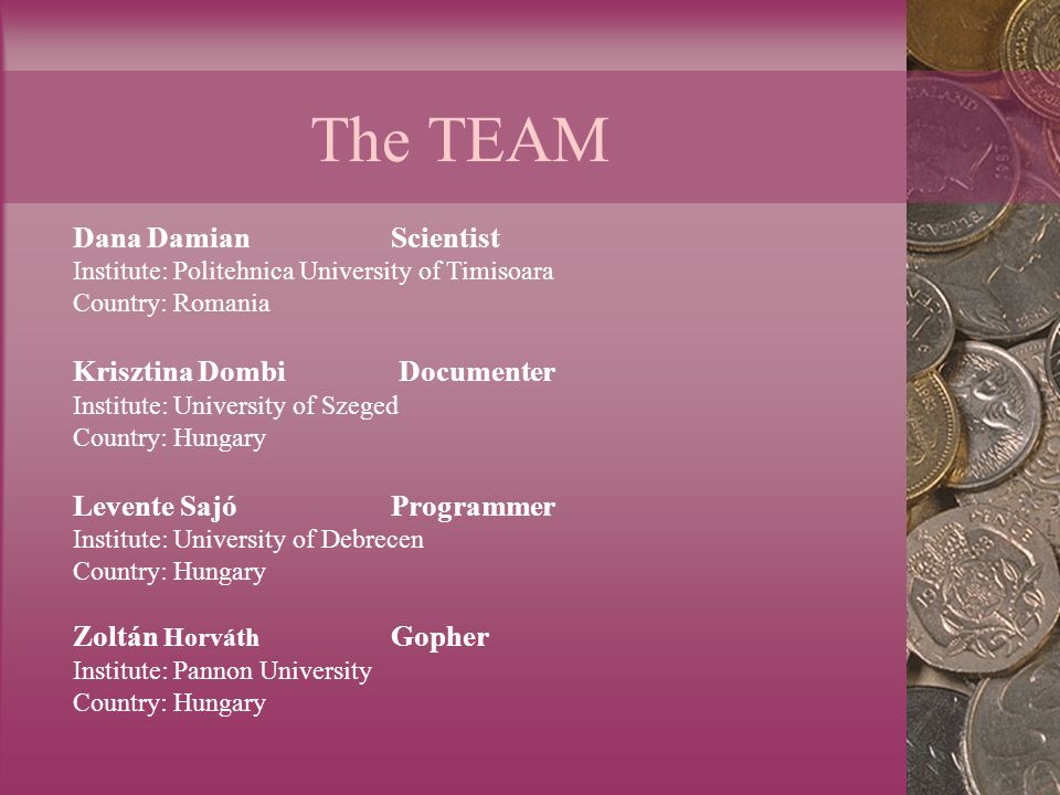 The TEAM Dana Damian Scientist Institute: Politehnica University of Timisoara Country: Romania Krisztina Dombi Documenter Institute: University of Szeged Country: Hungary Levente Sajó Programmer Institute: University of Debrecen Country: Hungary Zoltán Horváth Gopher Institute: Pannon University Country: Hungary