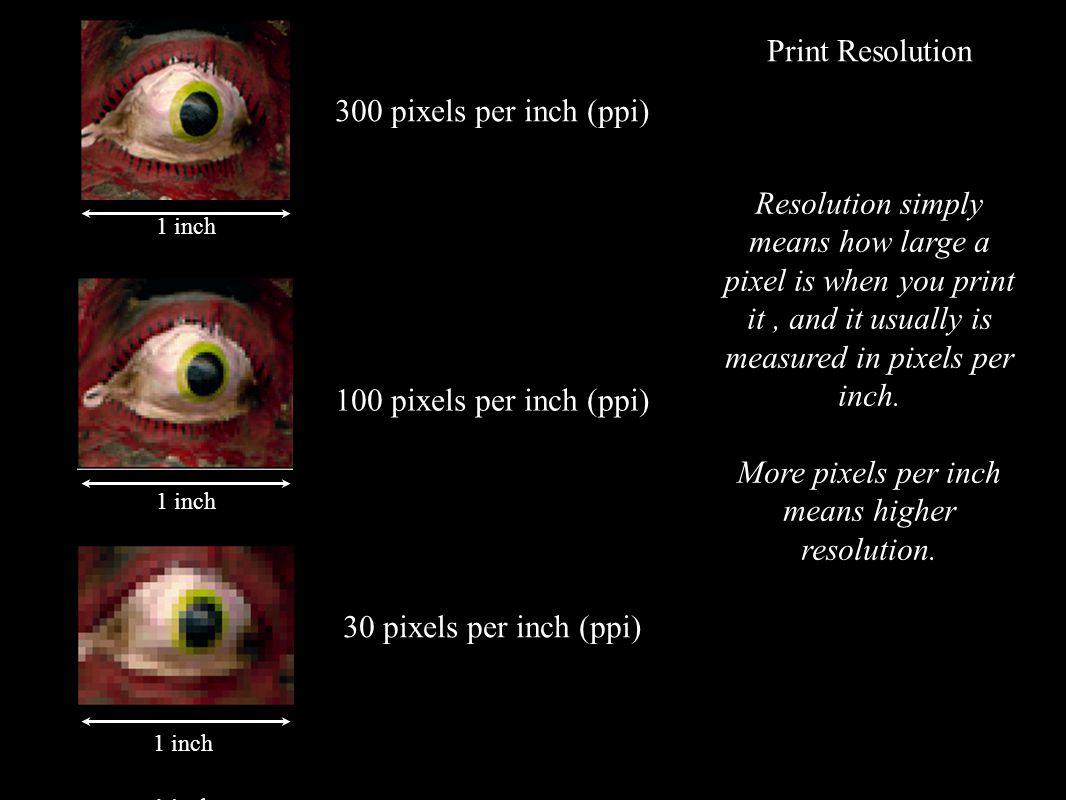 300 pixels per inch (ppi) 100 pixels per inch (ppi) 30 pixels per inch (ppi) 1 inch Resolution simply means how large a pixel is when you print it, and it usually is measured in pixels per inch.