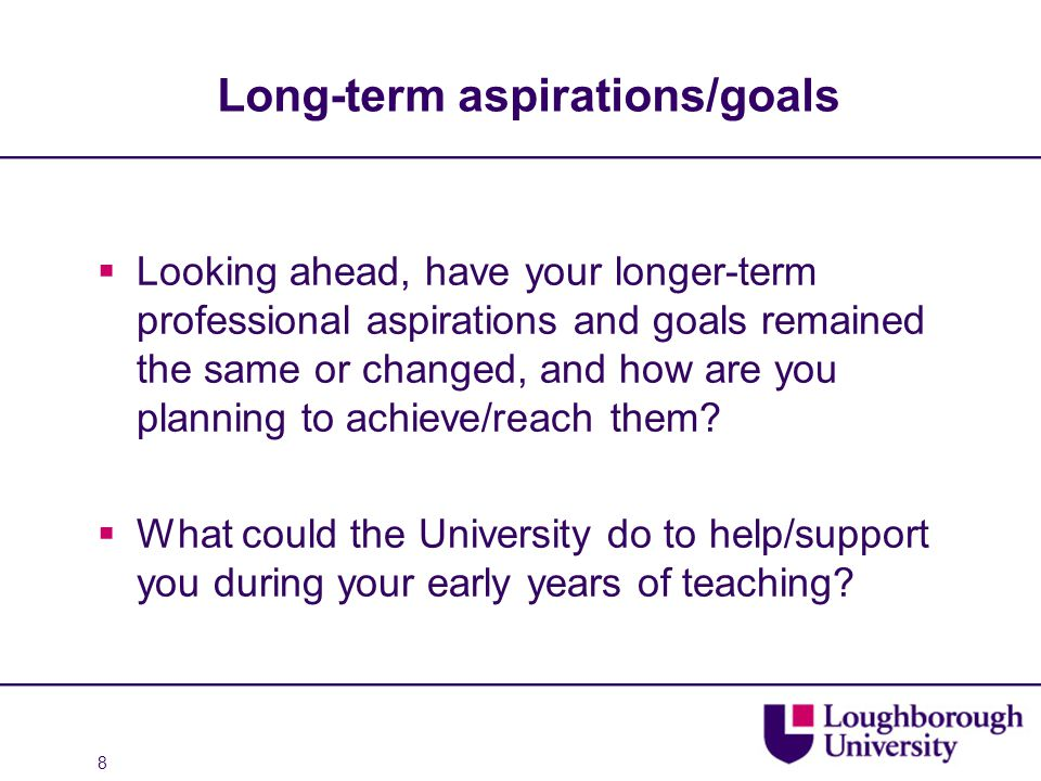 Long-term aspirations/goals  Looking ahead, have your longer-term professional aspirations and goals remained the same or changed, and how are you planning to achieve/reach them.