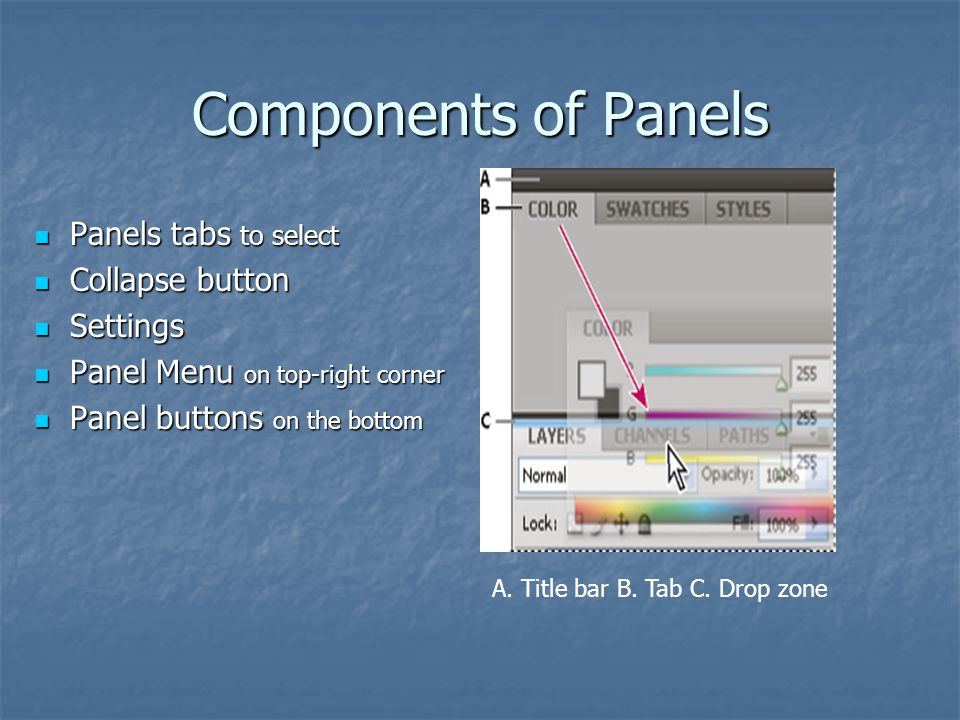 Components of Panels Panels tabs to select Panels tabs to select Collapse button Collapse button Settings Settings Panel Menu on top-right corner Pane