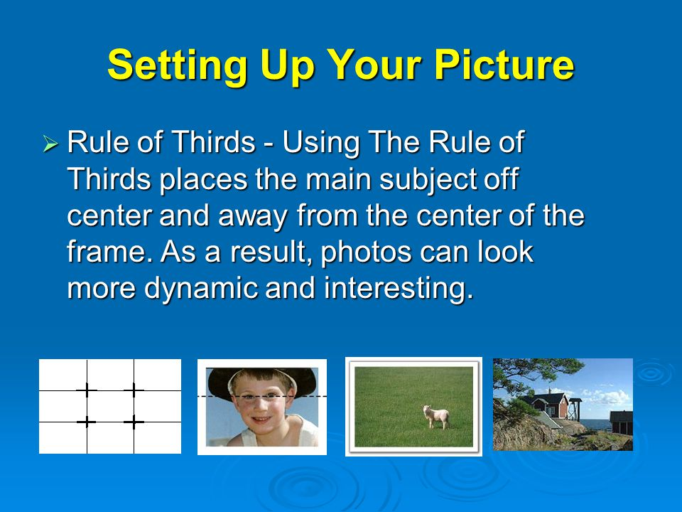 Setting Up Your Picture  Rule of Thirds - Using The Rule of Thirds places the main subject off center and away from the center of the frame.