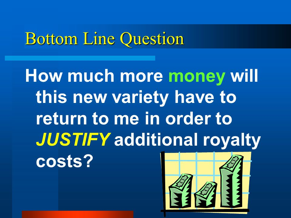 Bottom Line Question How much more money will this new variety have to return to me in order to JUSTIFY additional royalty costs