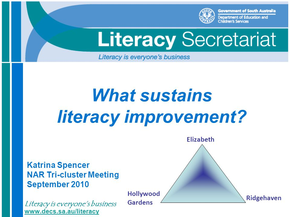 DECS Literacy Secretariat Literacy is everyone's business 12 Common change errors The PLANNING and application The ENGAGEMENT of people and communication of change The DEVELOPMENT of leaders to drive the change The LEADERSHIP and management systems and behaviours that support the change http://www.peoplefirstleadership.com/keeping-people-first-alive.htm http://www.peoplefirstleadership.com/keeping-people-first-alive.htm