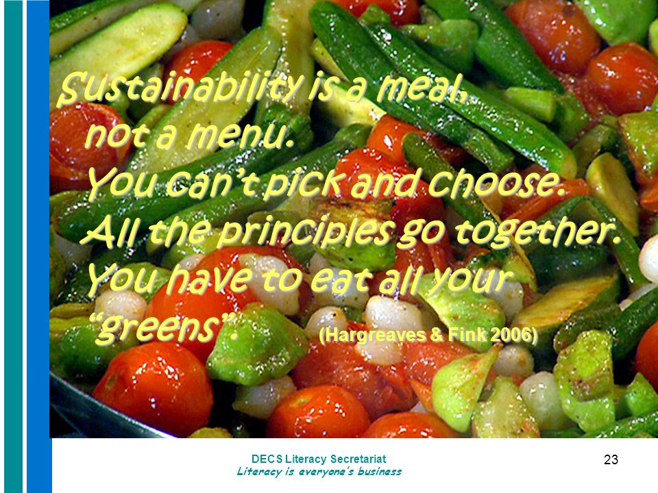 DECS Literacy Secretariat Literacy is everyone's business 23 Sustainability is a meal, not a menu.