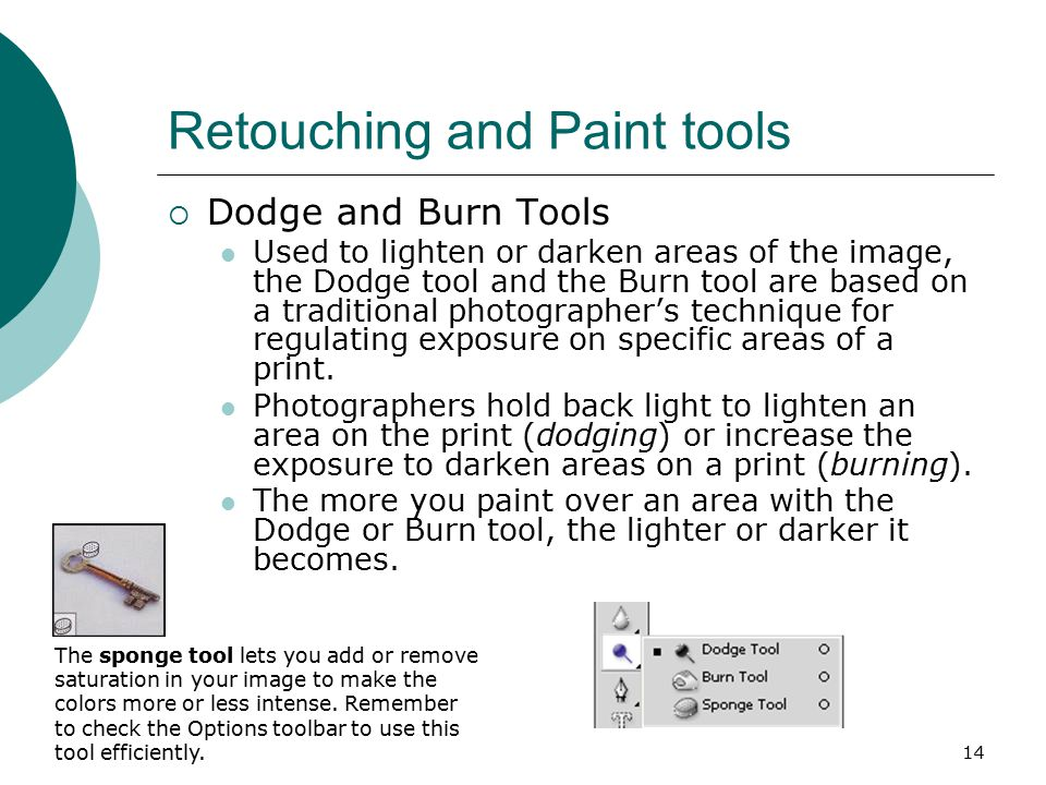 14 Retouching and Paint tools  Dodge and Burn Tools Used to lighten or darken areas of the image, the Dodge tool and the Burn tool are based on a traditional photographer's technique for regulating exposure on specific areas of a print.