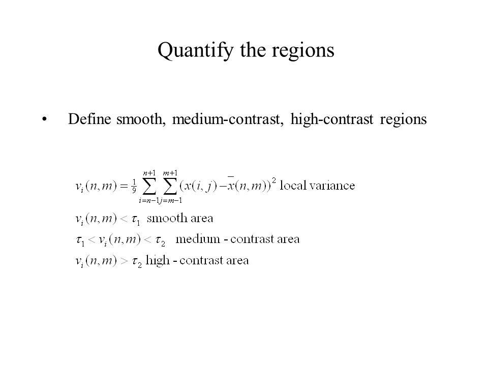 Quantify the regions Define smooth, medium-contrast, high-contrast regions