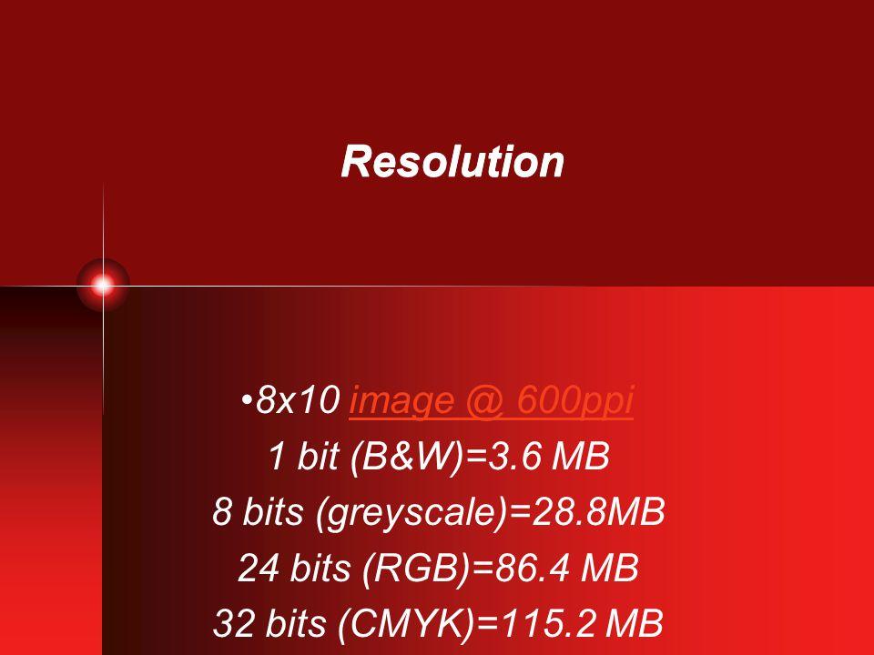 Resolution 8x10 image @ 600ppiimage @ 600ppi 1 bit (B&W)=3.6 MB 8 bits (greyscale)=28.8MB 24 bits (RGB)=86.4 MB 32 bits (CMYK)=115.2 MB