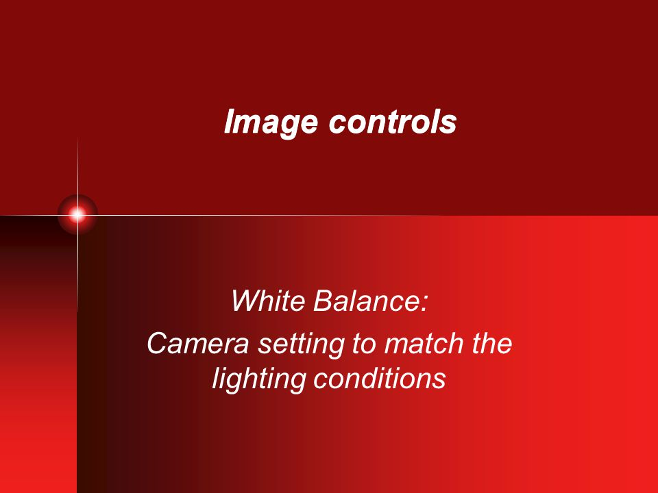 Image controls White Balance: Camera setting to match the lighting conditions