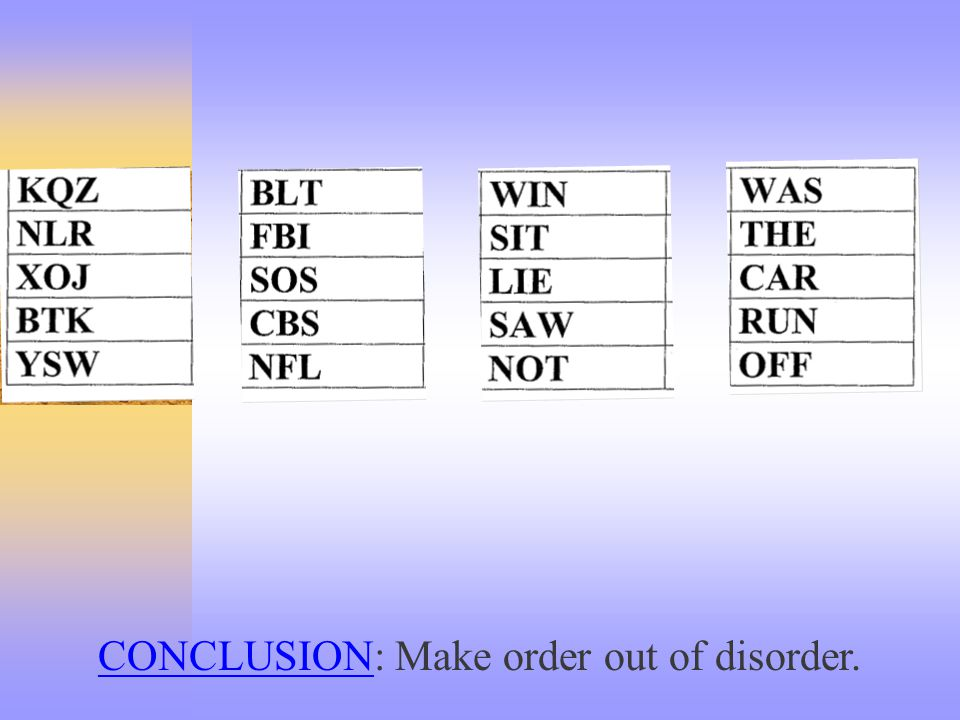 CONCLUSIONCONCLUSION: Make order out of disorder.