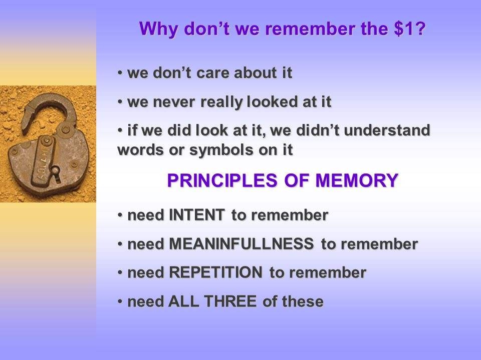 Why don't we remember the $1.