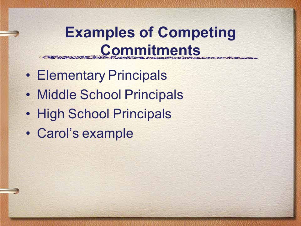 Examples of Competing Commitments Elementary Principals Middle School Principals High School Principals Carol's example