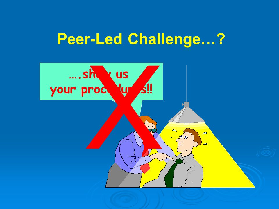….show us your procedures!! Peer-Led Challenge… X