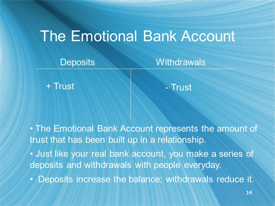 14 The Emotional Bank Account DepositsWithdrawals + Trust - Trust The Emotional Bank Account represents the amount of trust that has been built up in a relationship.