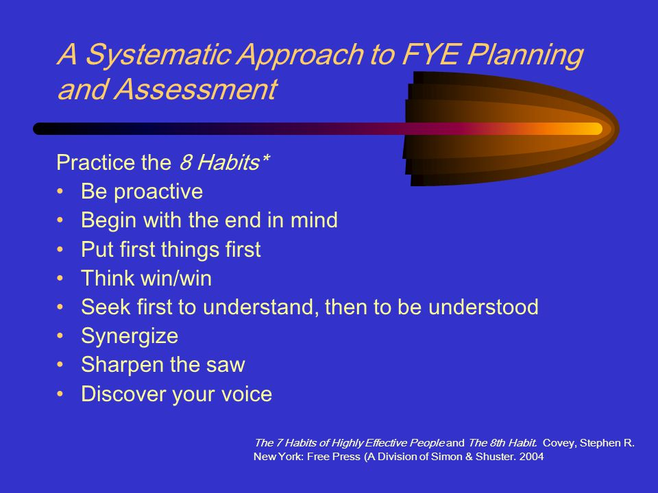 A Systematic Approach to FYE Planning and Assessment Practice the 8 Habits* Be proactive Begin with the end in mind Put first things first Think win/win Seek first to understand, then to be understood Synergize Sharpen the saw Discover your voice The 7 Habits of Highly Effective People and The 8th Habit.