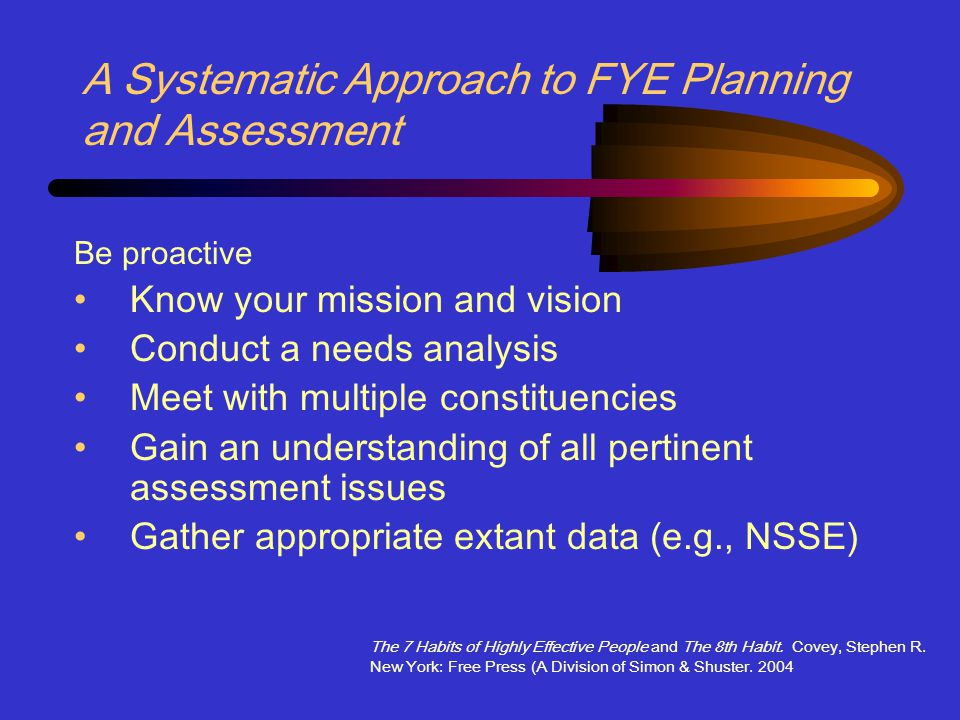 A Systematic Approach to FYE Planning and Assessment Be proactive Know your mission and vision Conduct a needs analysis Meet with multiple constituencies Gain an understanding of all pertinent assessment issues Gather appropriate extant data (e.g., NSSE) The 7 Habits of Highly Effective People and The 8th Habit.