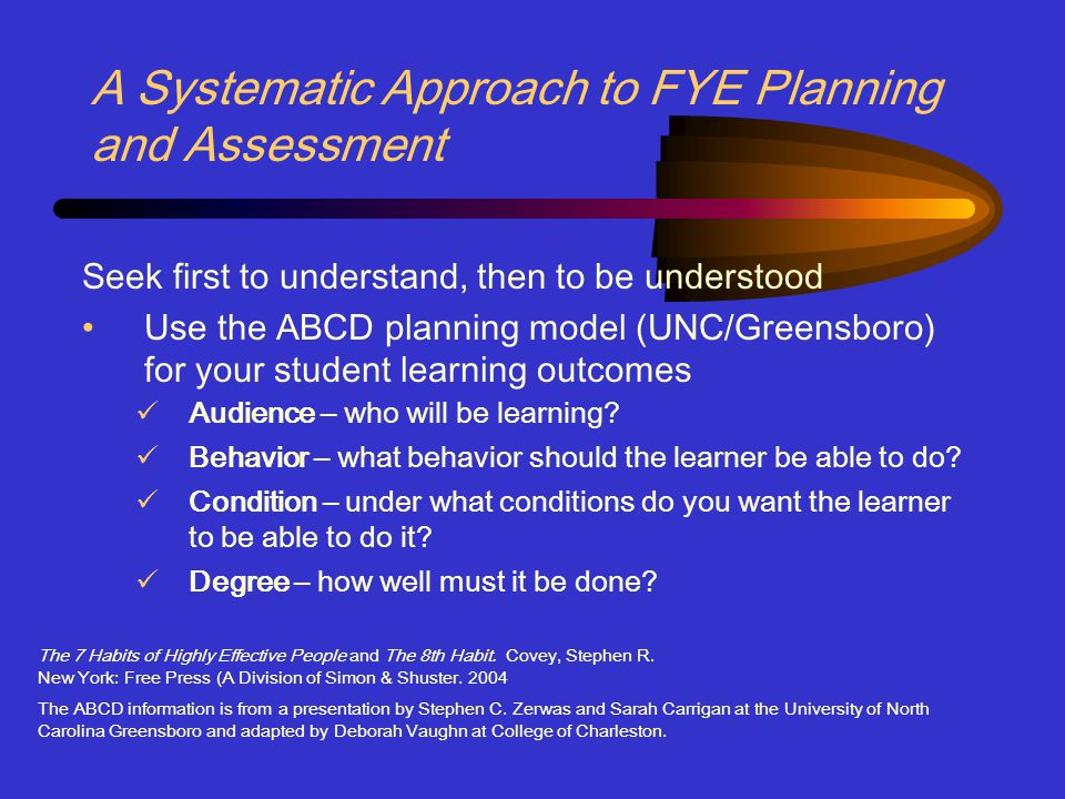 A Systematic Approach to FYE Planning and Assessment Seek first to understand, then to be understood Use the ABCD planning model (UNC/Greensboro) for your student learning outcomes Audience – who will be learning.