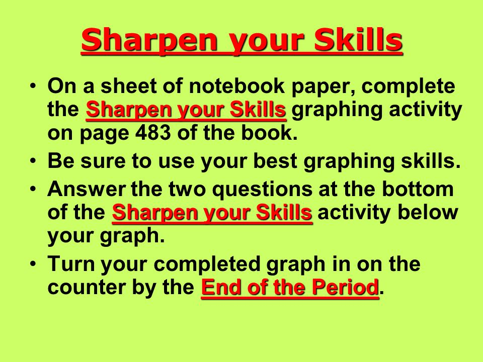 Sharpen your Skills Sharpen your SkillsOn a sheet of notebook paper, complete the Sharpen your Skills graphing activity on page 483 of the book.
