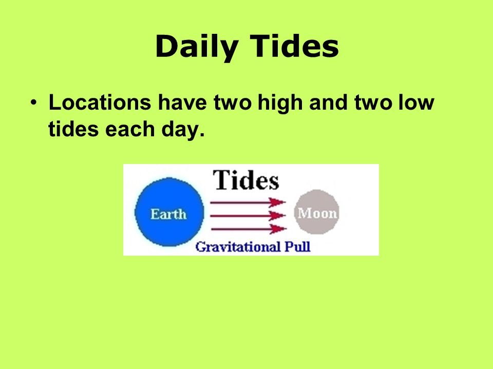 Daily Tides Locations have two high and two low tides each day.