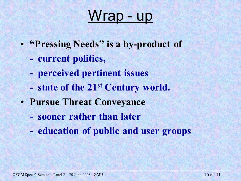 10 of 11 Wrap - up Pressing Needs is a by-product of - current politics, - perceived pertinent issues - state of the 21 st Century world.