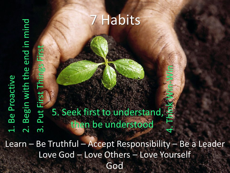 God Love God – Love Others – Love Yourself Learn – Be Truthful – Accept Responsibility – Be a Leader 7 Habits 5.