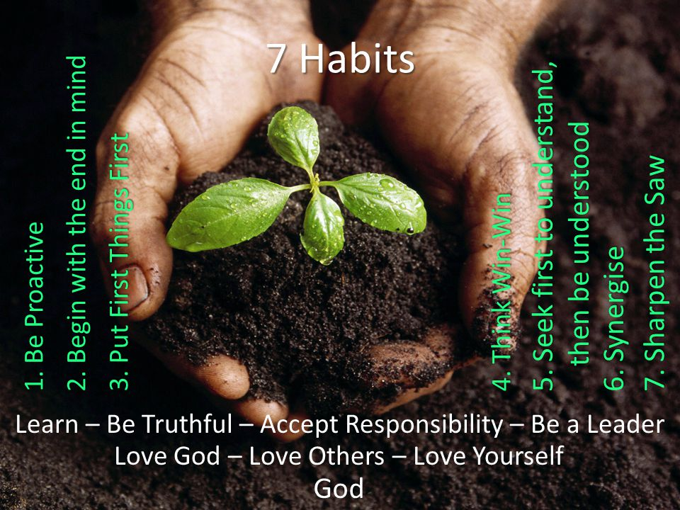 God Love God – Love Others – Love Yourself Learn – Be Truthful – Accept Responsibility – Be a Leader 7 Habits 7.