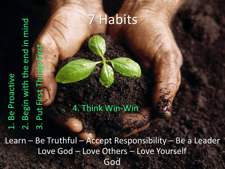 God Love God – Love Others – Love Yourself Learn – Be Truthful – Accept Responsibility – Be a Leader 7 Habits 4.