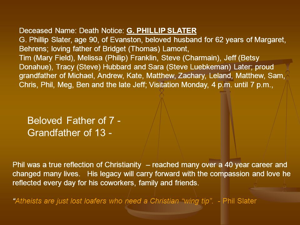 Deceased Name: Death Notice: G. PHILLIP SLATER G.