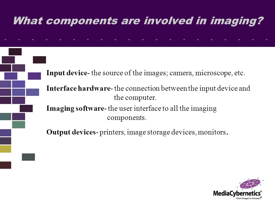 What components are involved in imaging? Input device- the source of the images; camera, microscope, etc. Interface hardware- the connection between t