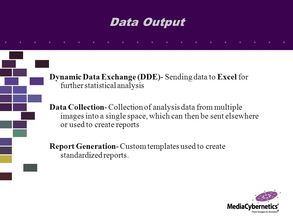 Dynamic Data Exchange (DDE)- Sending data to Excel for further statistical analysis Data Collection- Collection of analysis data from multiple images