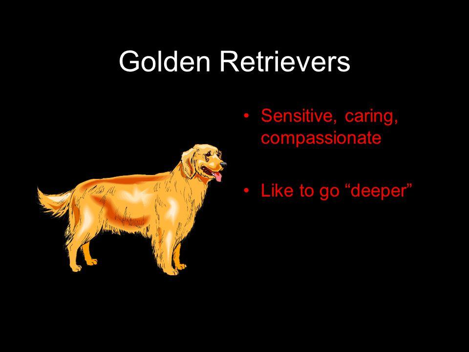 "Golden Retrievers Sensitive, caring, compassionate Like to go ""deeper"""