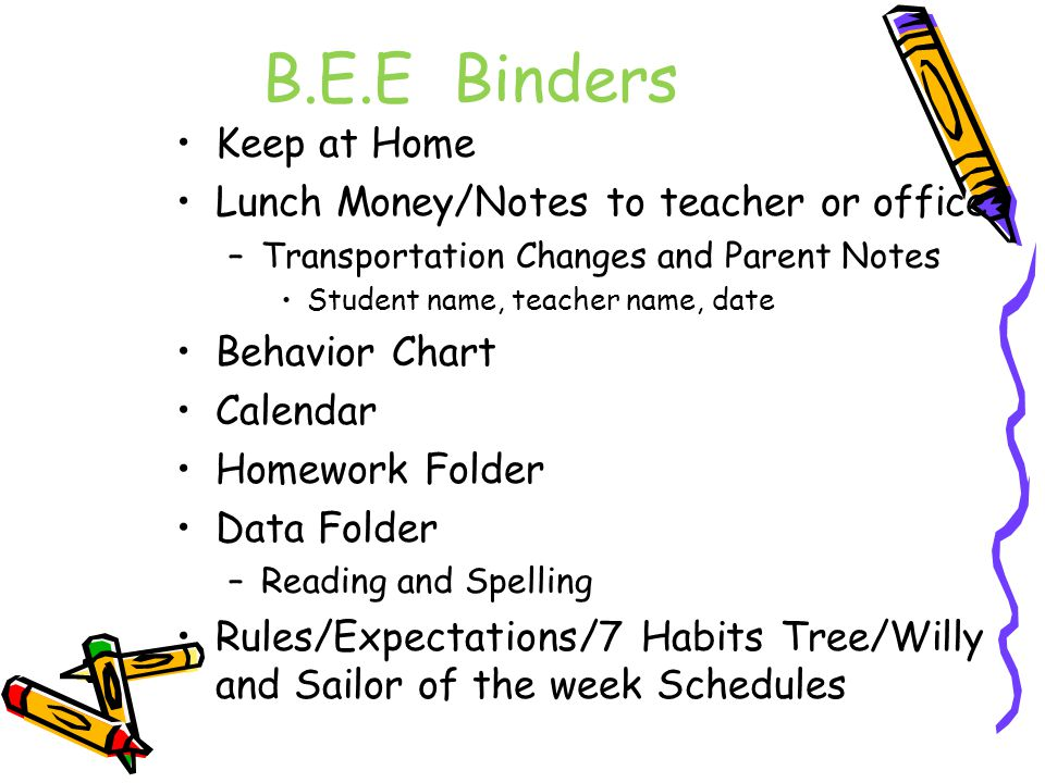 B.E.E Binders Keep at Home Lunch Money/Notes to teacher or office –Transportation Changes and Parent Notes Student name, teacher name, date Behavior C