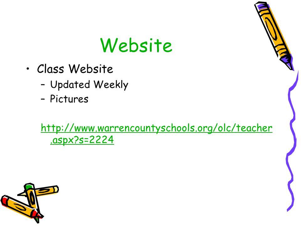 Website Class Website –Updated Weekly –Pictures http://www.warrencountyschools.org/olc/teacher.aspx?s=2224