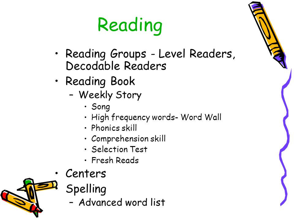 Reading Reading Groups - Level Readers, Decodable Readers Reading Book –Weekly Story Song High frequency words- Word Wall Phonics skill Comprehension