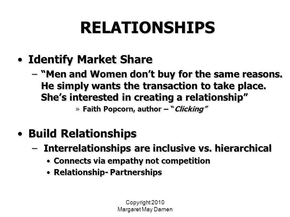 Copyright 2010 Margaret May Damen RELATIONSHIPS Identify Market Share – Men and Women don't buy for the same reasons.