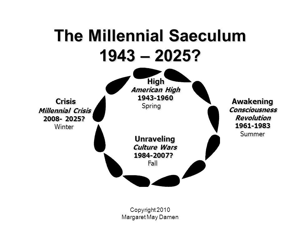 Copyright 2010 Margaret May Damen The Millennial Saeculum 1943 – 2025? High American High 1943-1960 Spring High American High 1943-1960 Spring Awakeni