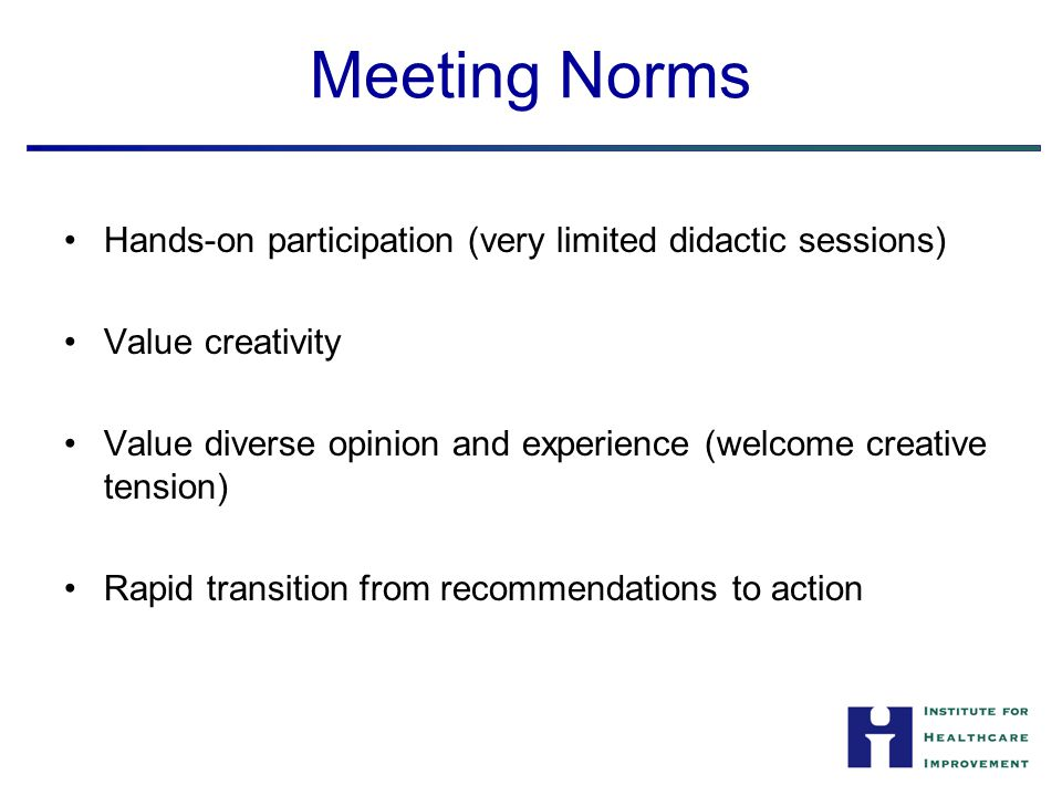 Meeting Norms Hands-on participation (very limited didactic sessions) Value creativity Value diverse opinion and experience (welcome creative tension) Rapid transition from recommendations to action