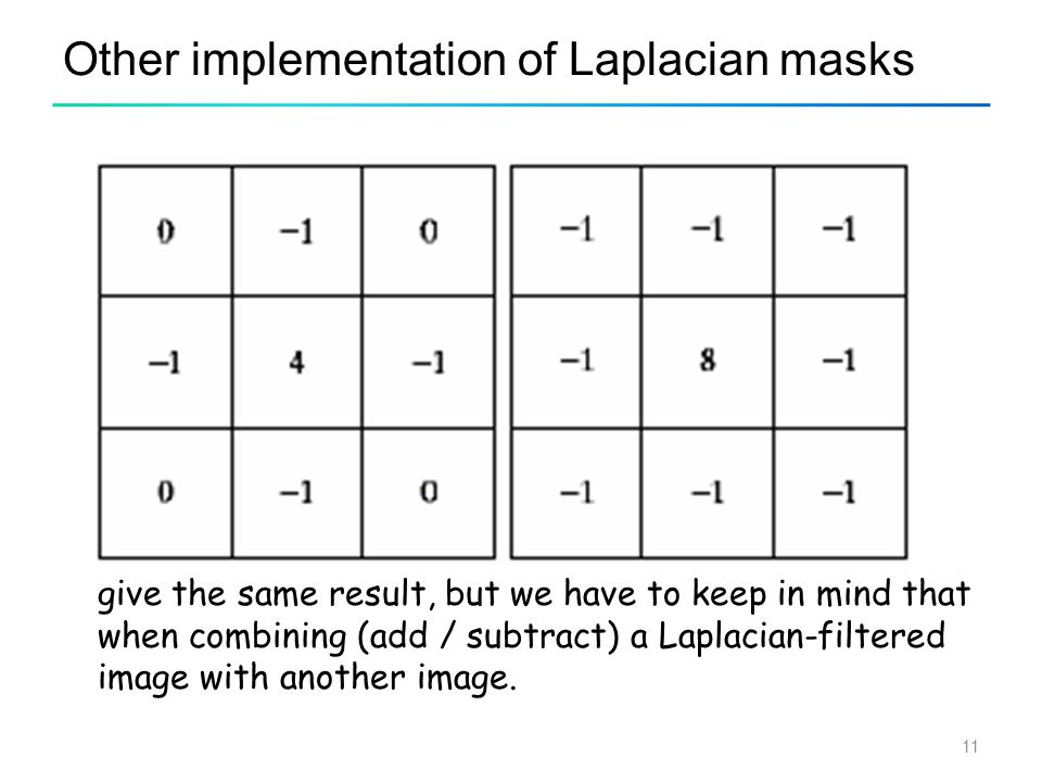 11 Other implementation of Laplacian masks give the same result, but we have to keep in mind that when combining (add / subtract) a Laplacian-filtered