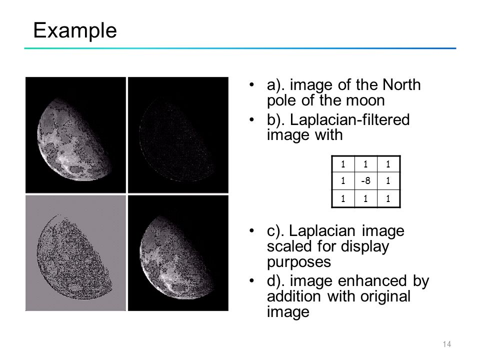 14 Example a). image of the North pole of the moon b). Laplacian-filtered image with c). Laplacian image scaled for display purposes d). image enhance