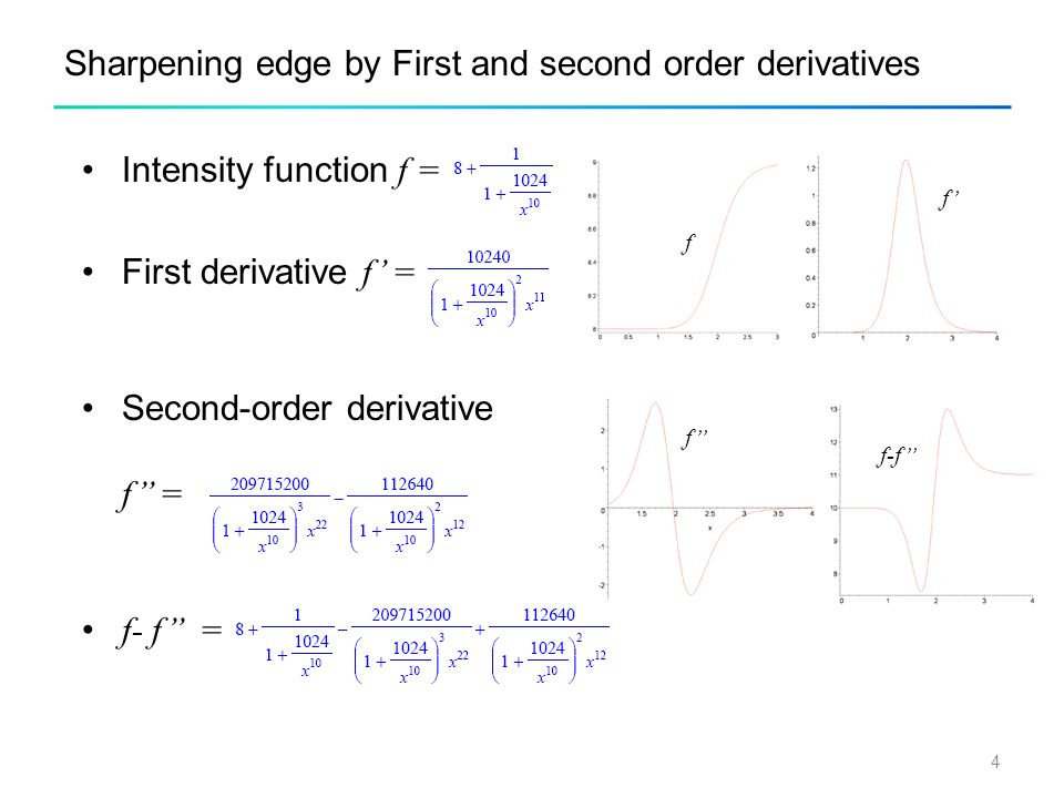 4 Sharpening edge by First and second order derivatives Intensity function f = First derivative f' = Second-order derivative f'' = f- f'' = f f' f'' f