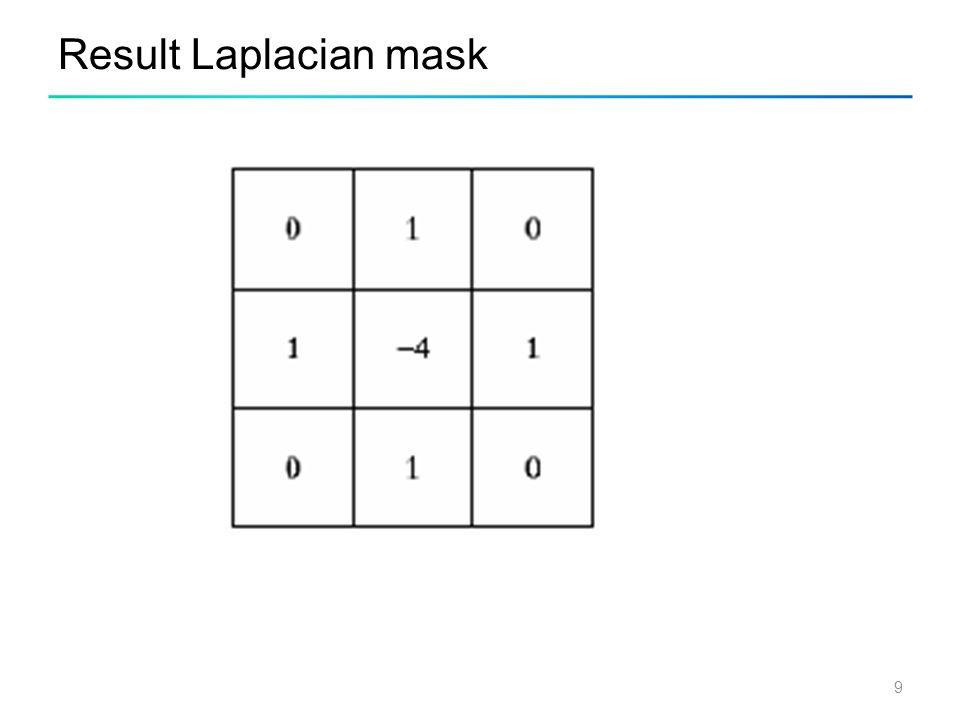 10 Laplacian mask implemented an extension of diagonal neighbors
