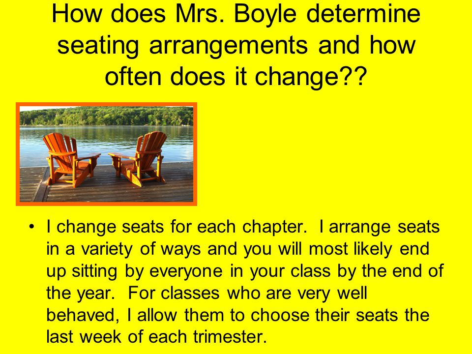 How does Mrs. Boyle determine seating arrangements and how often does it change .