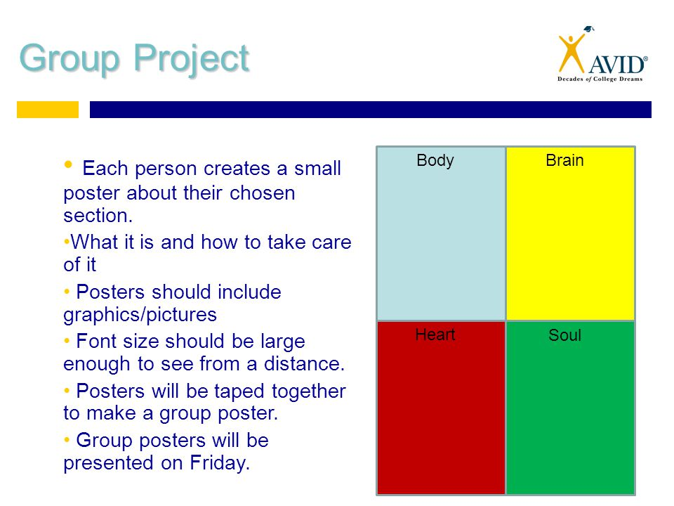 Group Project BodyBrain Heart Soul Each person creates a small poster about their chosen section. What it is and how to take care of it Posters should