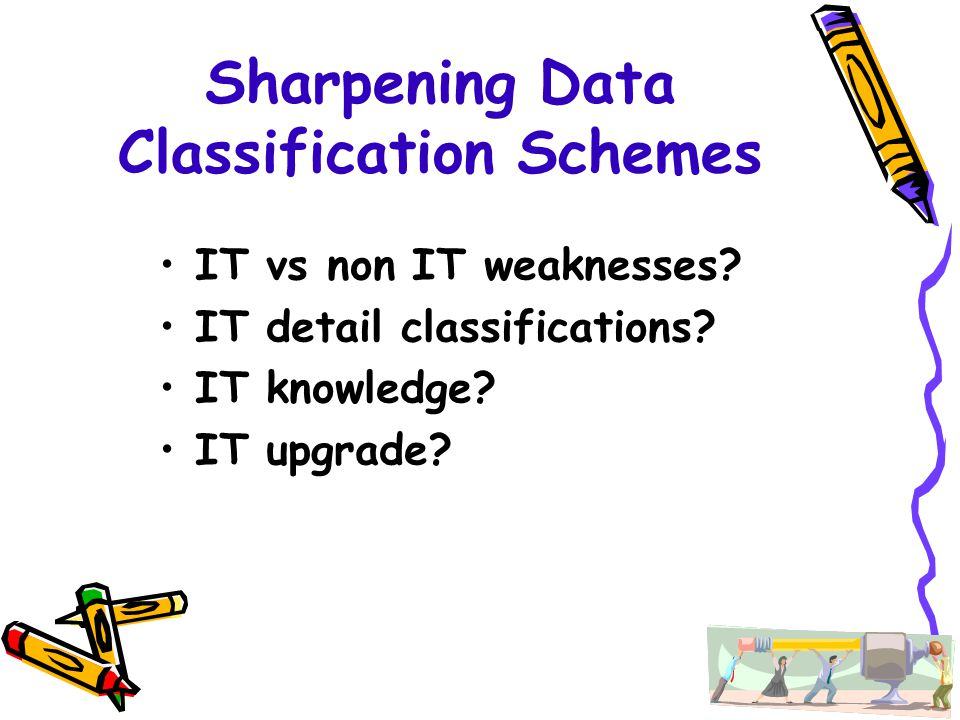 Sharpening Data Classification Schemes IT vs non IT weaknesses? IT detail classifications? IT knowledge? IT upgrade?