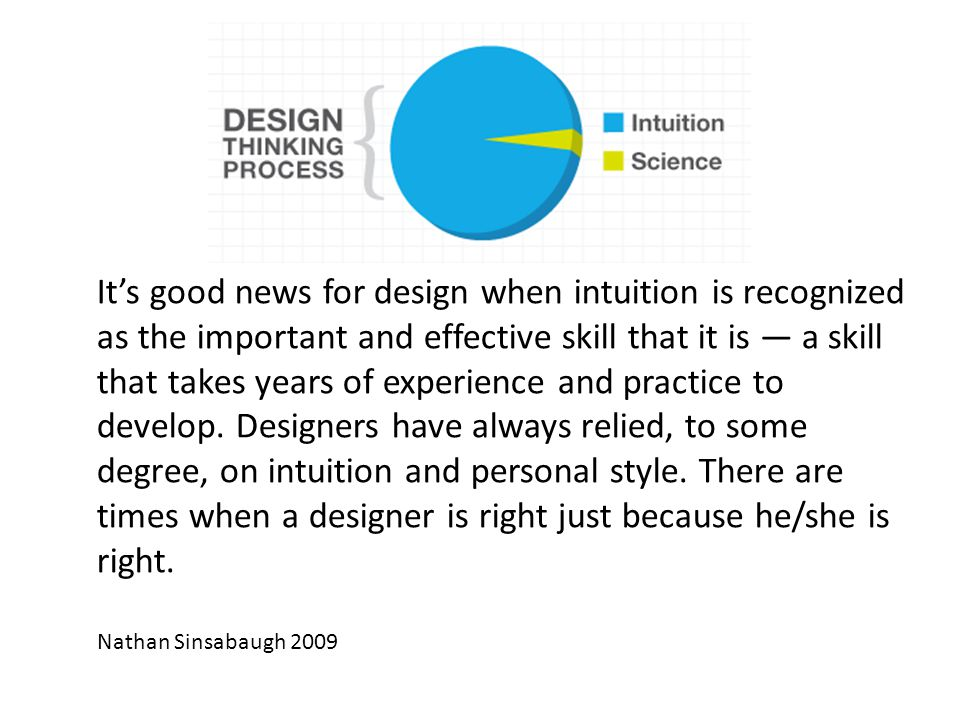 It's good news for design when intuition is recognized as the important and effective skill that it is — a skill that takes years of experience and practice to develop.