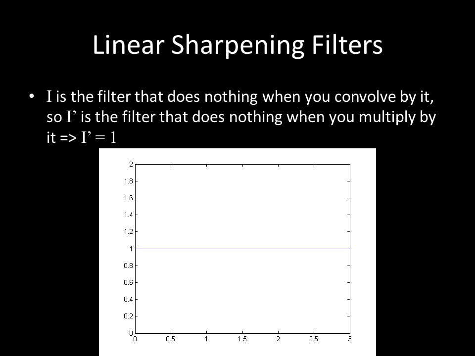 Linear Sharpening Filters I is the filter that does nothing when you convolve by it, so I' is the filter that does nothing when you multiply by it => I' = 1