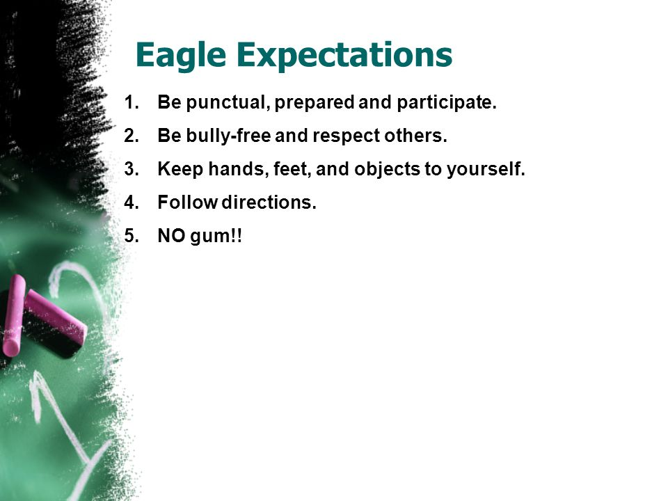 Eagle Expectations 1.Be punctual, prepared and participate.