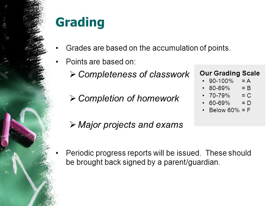 Grading Grades are based on the accumulation of points.