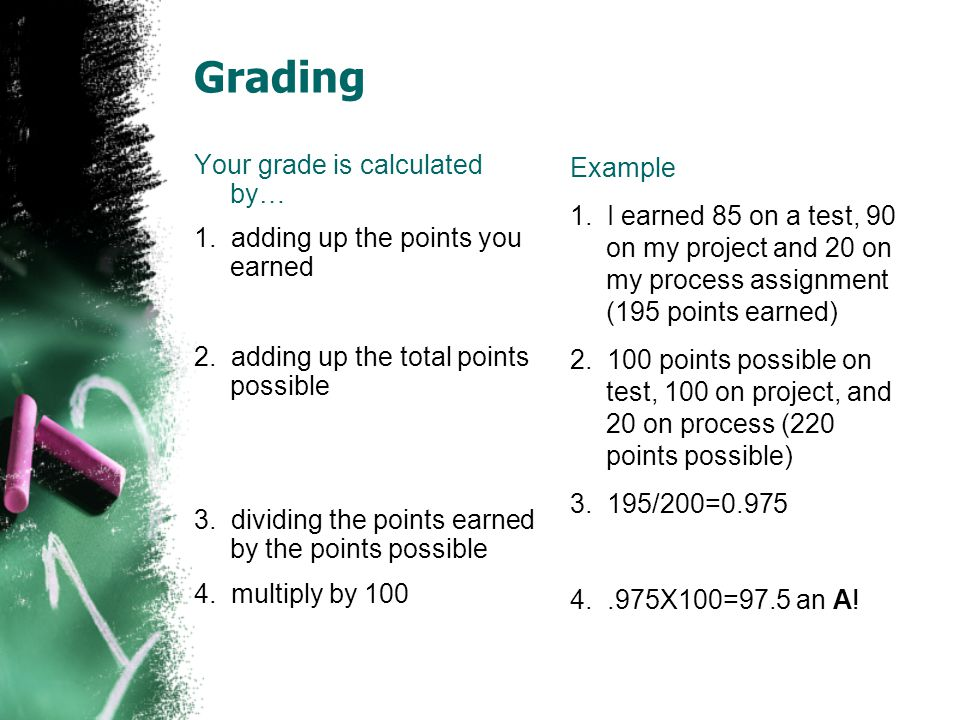 Grading Your grade is calculated by… 1. adding up the points you earned 2.