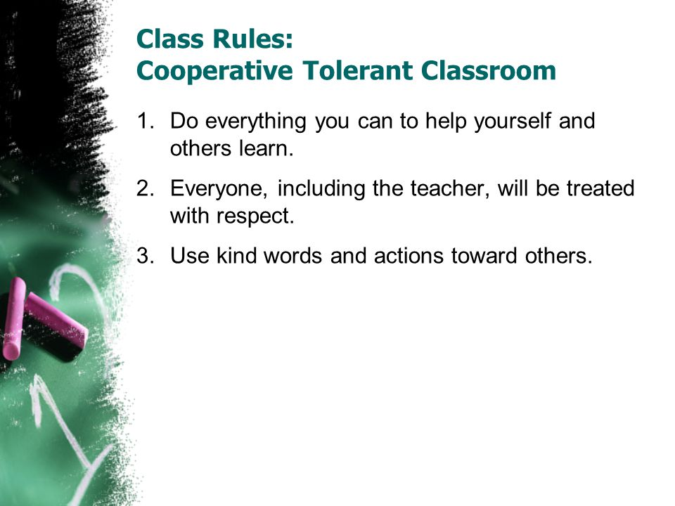 Class Rules: Cooperative Tolerant Classroom 1.Do everything you can to help yourself and others learn.